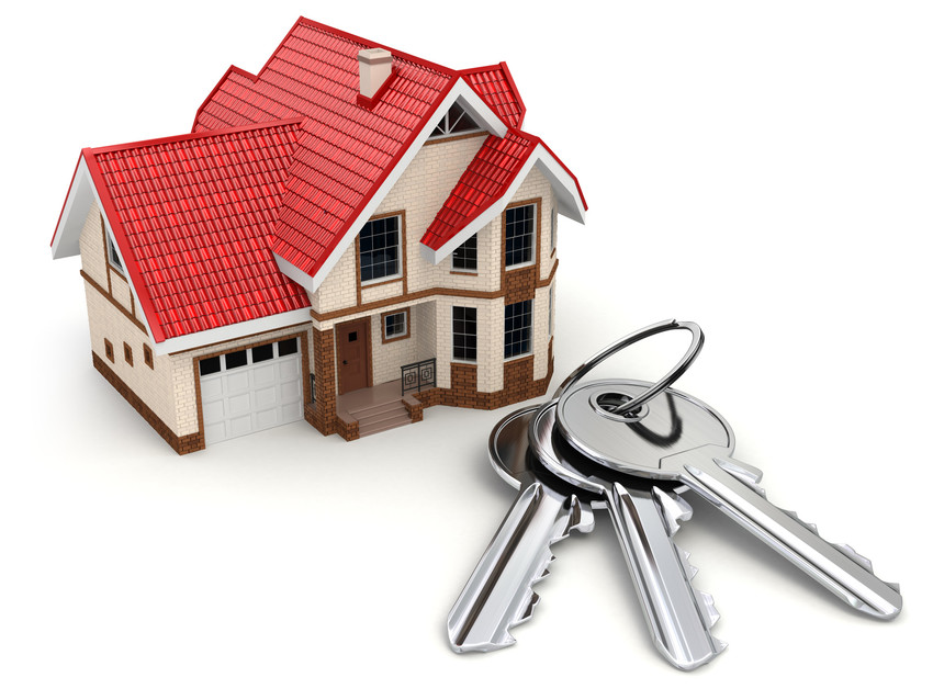 House and keys on white isolated background. 3d