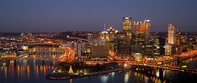 pittsburgh at night in winter