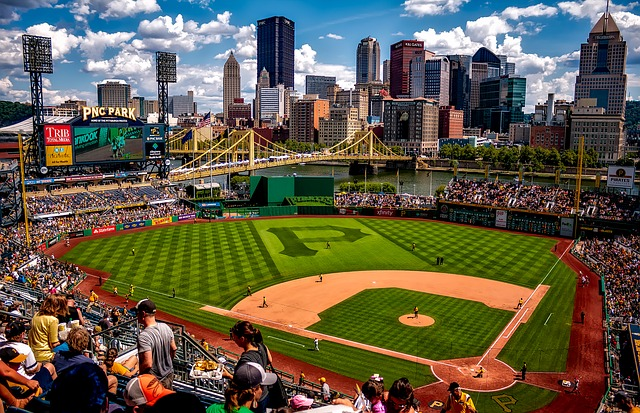Pittsburgh skyline over PNC baseball park