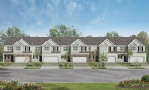 Architect's rendering of a new townhome community.